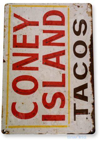 tin sign c530 coney island tacos carnival fair food truck stand tinworld tinsign_com