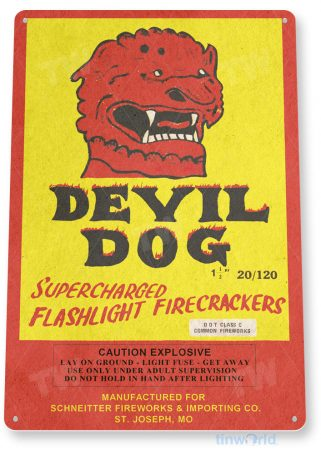 tin sign c535 devil dog firecrackers fireworks stand booth 4th july independence day new years tinworld tinsign_com