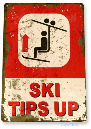 tin sign c557 ski tips up rustic snow ski slope sign skiing cabin resort lodge tinworld tinsign_com