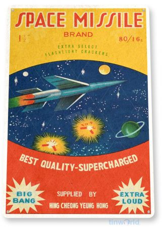 tin sign c559 space missle firecrackers fireworks stand booth 4th july independence day new years tinworld tinsign_com