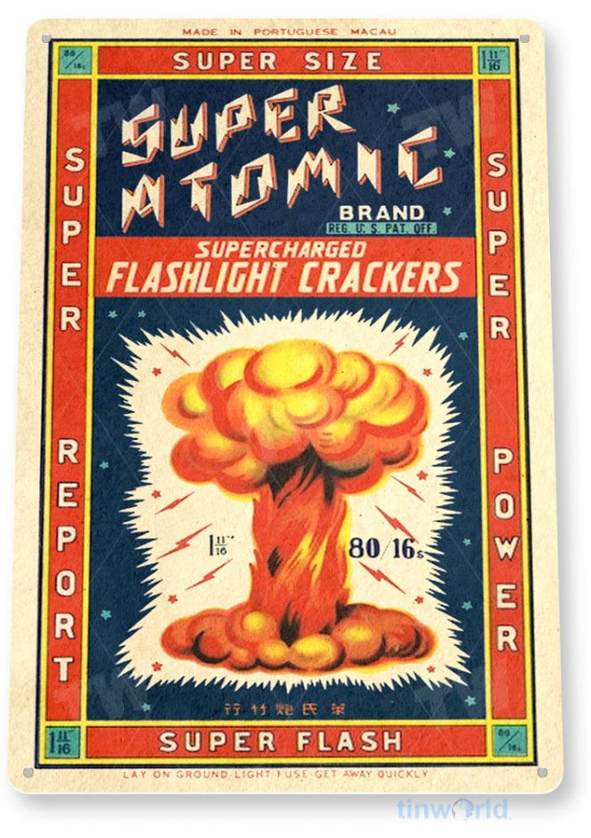 tin sign c560 super atomic firecrackers fireworks stand booth 4th july independence day new years tinworld tinsign_com