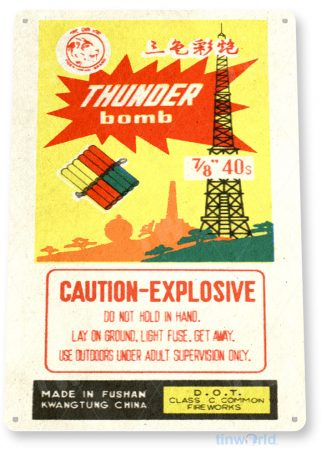 tin sign c564 thunder bomb firecrackers 2 fireworks stand booth 4th july independence day new years tinworld tinsign_com