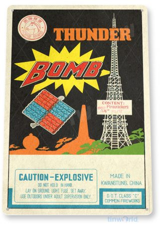 tin sign c565 thunder bomb firecrackers fireworks stand booth 4th july independence day new years tinworld tinsign_com