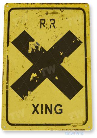 tin sign c578 railroad train crossing xing rustic yellow rail crossing caution tinworld tinsign_com
