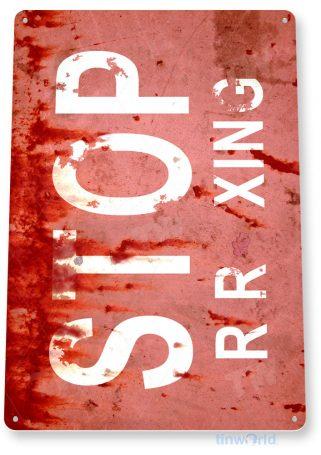 tin sign c579 stop railroad crossing train xing rustic red rail crossing warning tinworld tinsign_com