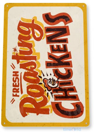 tin sign c593 roasting chickens fresh market fair grounds carnival food truck tinworld tinsign_com