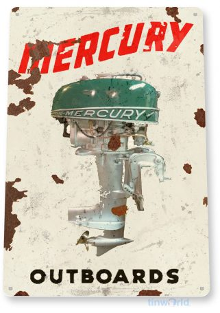 tin sign c606 mercury outboard motors retro boat motor engine tinworld tinsign_com