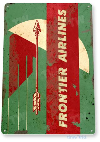 tin sign c610 frontier airlines retro commercial aviation tinworld tinsign_com