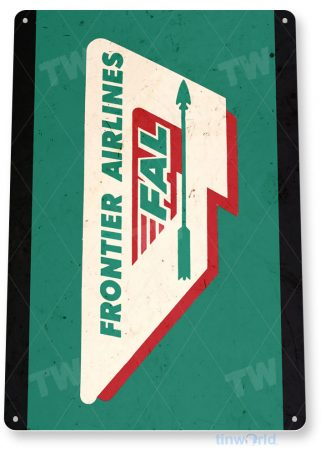 tin sign c611 frontier airlines retro commercial aviation tinworld tinsign_com