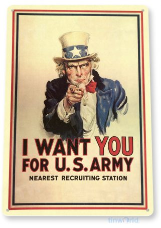 tin sign c613 i want you us army recruiting poster ww2 tinworld tinsign_com