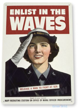 tin sign c614 enlist in waves us army recruiting poster ww2 tinworld tinsign_com