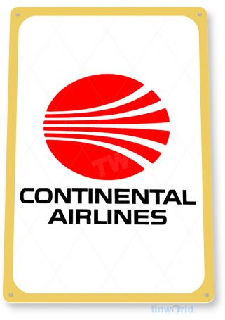 tin sign c623 continental airlines retro commercial aviation tinworld tinsign_com