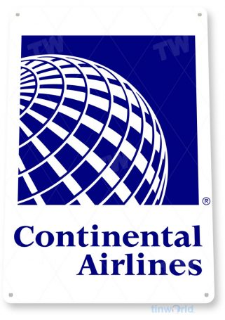 tin sign c626 continental airlines retro commercial aviation tinworld tinsign_com