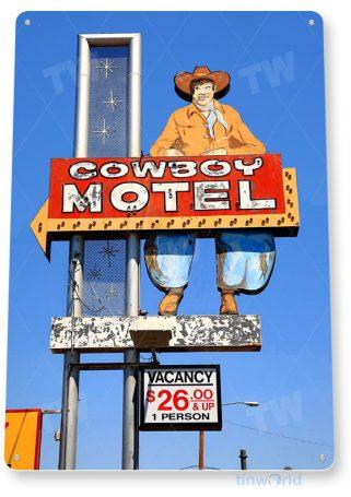 tin sign c627 cowboy motel historic retro las vegas neon tinworld tinsign_com