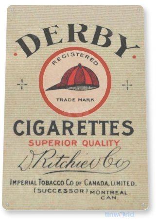 tin sign c642 derby cigarettes retro tobacco cigar smoke shop tinworld tinsign_com
