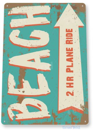 tin sign c653 beach plane rustic lake beach sign house cottage cabin cave tinworld tinsign_com