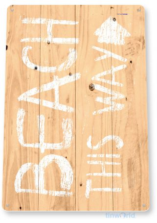tin sign c656 beach this way rustic lake beach sign house cottage cabin cave tinworld tinsign_com