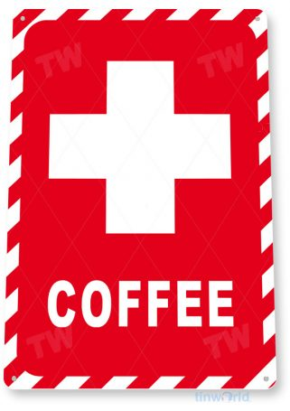 tin sign c680 emergency coffee sign shop sign kitchen cottage cafe farm tinworld tinsign_com