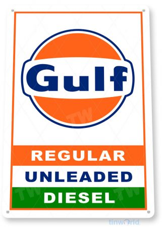 tin sign c691 gulf gas retro rustic oil gas station sign garage auto shop cave tinworld tinsign_com
