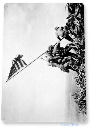 tin sign c698 iojima flag ww2 sign patriotic american flag veterans historic photo sign tinworld tinsign_com