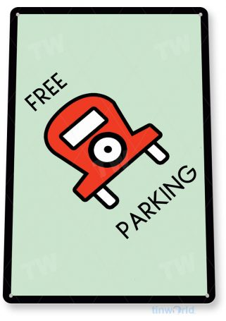 tin sign c718 monopoly free parking game sign game room retro monopoly sign tinworld tinsign_com