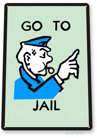 tin sign c719 monopoly go to jail game sign game room retro monopoly sign tinworld tinsign_com