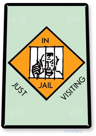 tin sign c720 monopoly just visiting jail game sign game room retro monopoly sign tinworld tinsign_com