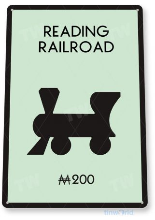 tin sign c723 monopoly reading railroad game sign game room retro monopoly sign tinworld tinsign_com