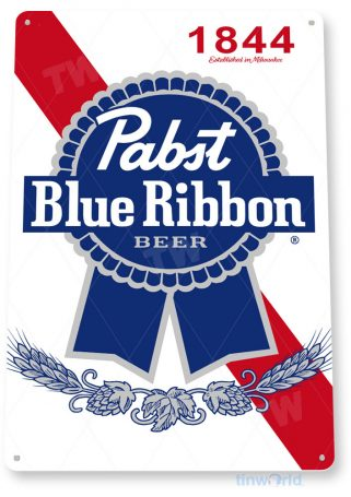 tin sign c734 pabst ribbon beer sign rustic retro pub bar sign brewery cottage cave tinworld tinsign_com