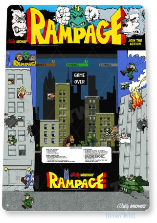 tin sign c741 rampage arcade game sign room shop marquee retro classic gaming console tinworld tinsign_com