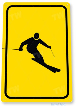 tin sign c746 ski area caution snow ski sign ski slope skiing sign cabin resort lodge tinworld tinsign_com