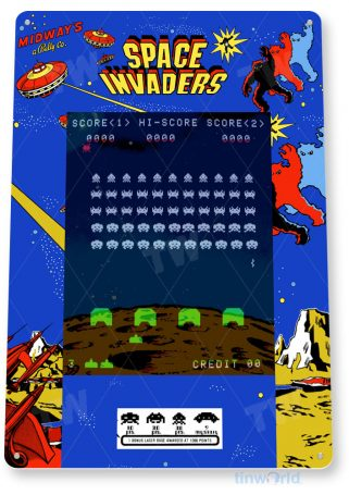 tin sign c748 space invaders arcade game sign room shop marquee retro classic gaming console tinworld tinsign_com