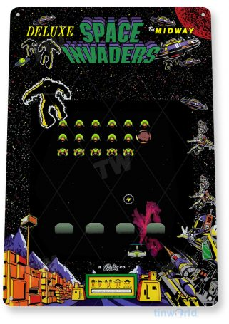 tin sign c749 space invaders deluxe arcade game sign room shop marquee retro classic gaming console tinworld tinsign_com