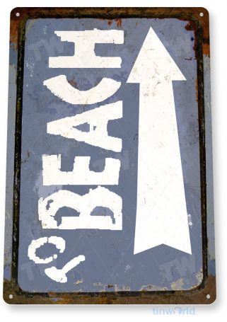 tin sign c763 to beach rustic lake beach sign house cottage cabin cave tinworld tinsign_com