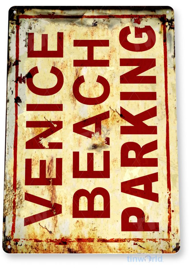 tin sign c765 venice beach parking rustic lake beach sign house cottage cabin cave tinworld tinsign_com