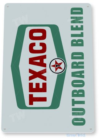 tin sign c840 texaco outboard motor oil retro rustic oil gas sign gas station garage boat shop marina sign tinworld tinsign_com