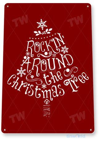 tin sign c853 rocking christmas tree sign christmas decorations wall art metal tin sign tinworld tinsign_com