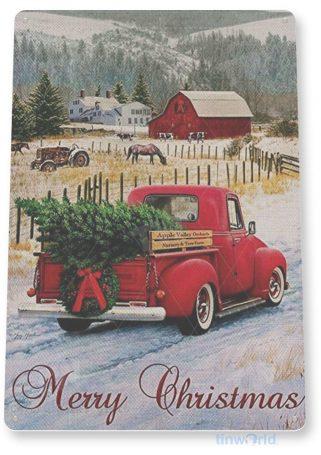 tin sign c854 christmas truck sign christmas decorations wall art metal tin sign tinworld tinsign_com