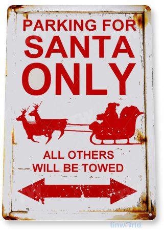 tin sign c856 santa parking only sign christmas decorations wall art metal tin sign tinworld tinsign_com