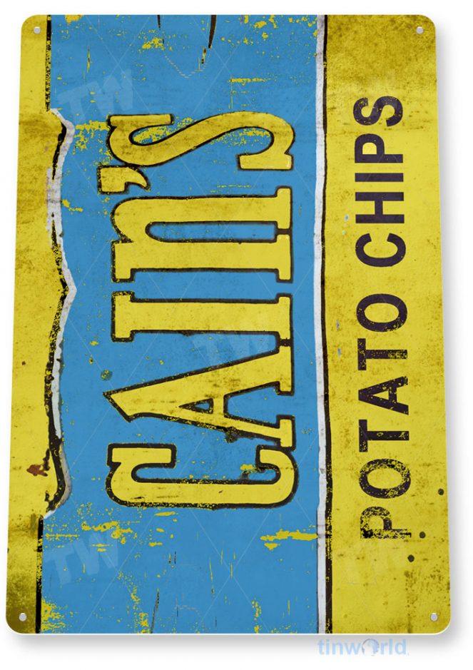 tin sign c875 cain's potato chips sign tinworld tinsign_com tinworld tinsign_com