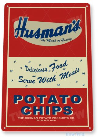 tin sign c934 husman's potato chips sign tinworld tinsign_com tinworld tinsign_com