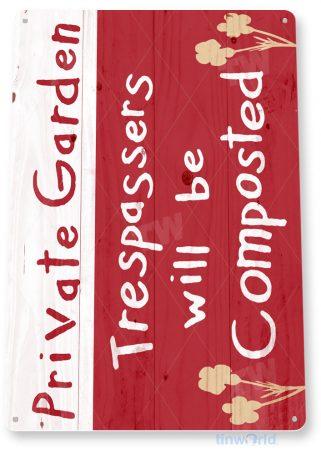 tin sign c982 private garden sign tinworld tinsign_com tinworld tinsign_com