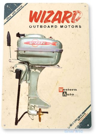 tin sign d020 wizzard outboard motors sign tinworld tinsign_com tinworld tinsign_com