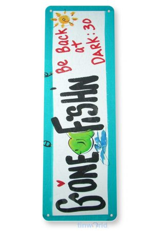 tin sign a408 gone fishing lake beach house rustic fish sign marina cottage tinworld tinsign_com
