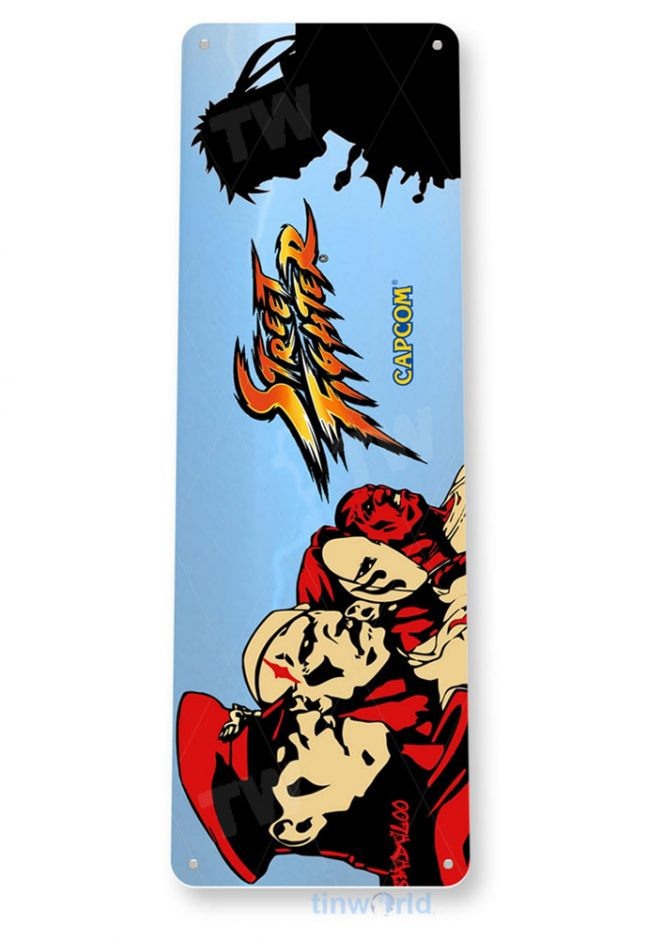 tin sign a624 street fighter arcade shop game room marquee sign retro console tinworld tinsign_com