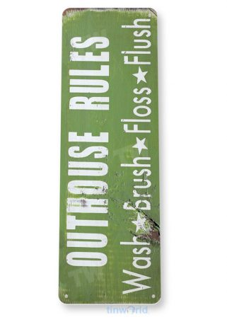 tin sign b005 outhouse rules rustic bathroom sign cottage farm barn cave tinworld tinsign_com