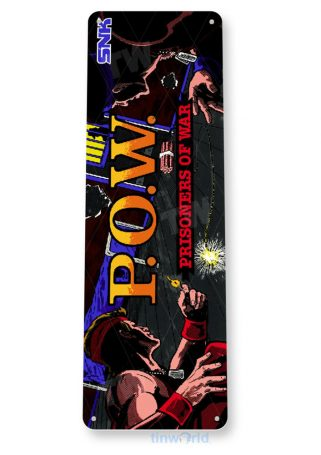 tin sign b033 p.o.w. arcade game room marquee sign retro console pow tinworld tinsign_com