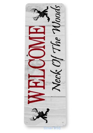 tin sign b321 welcome neck of woods rustic kitchen cottage farm beach house sign tinworld tinsign_com