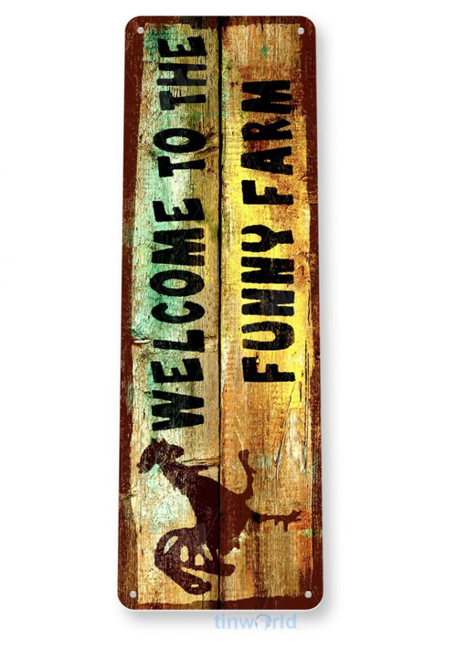 tin sign b434 welcome funny farm rustic kitchen cottage cabin farm sign tinworld tinsign_com