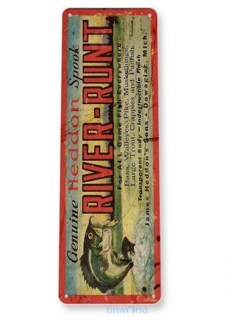 tin sign b643 river runt lure retro rustic fishing fish bait tackle marina shop cave tinworld tinsign_com